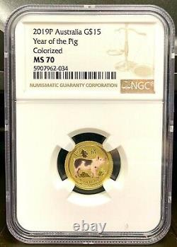2019 Australia $15 Lunar Year of the Pig Colorized 1/10 oz Gold Coin NGC MS 70