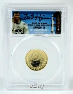 2019 Gold $5 Coin 1st Day, Launch Ceremony, Signed by Apollo 13 Fred Haise, PCGS
