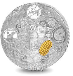 2019 NASA Man on Moon High Relief Domed 2 oz Silver Coin Apollo 11 Gold plated