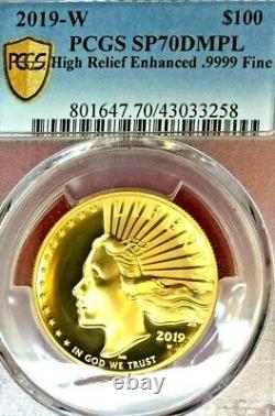 2019-W $100 1 OZ GOLD LIBERTY ENHANCED U. HIGH RELIEF UHR PCGS SP-70 DMPL WithOGP