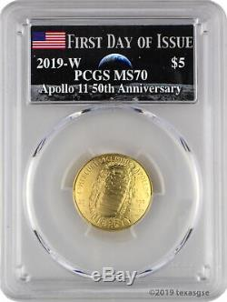 2019-W $5 Apollo 11 50th Anniversary Gold Coin PCGS MS70 FD-Moon Label