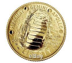 2019-W Apollo 11 Anniversary $5 Proof Gold Coin (with Box & COA) (#30012)