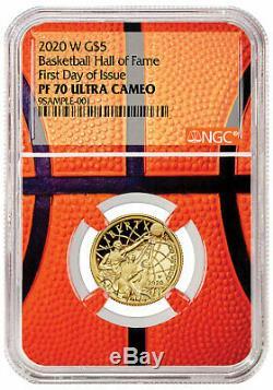 2020W $5 Basketball Hall of Fame Gold Proof Coin NGC PF70 FDI Basketball PRESALE