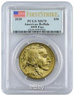 2020 1 oz Gold American Buffalo $50 Coin PCGS MS70 FS Flag Label SKU59639