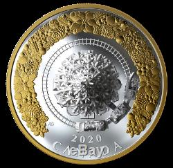 2020 Christmas Tree Train Moving 5oz Silver Coin /w Gold, CANADA IN STOCK