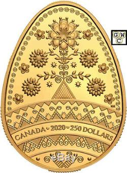 2020 Fine Gold'Tree of Life Blessings Pysanka' Prf $250 Coin(RCM 176762) 18905