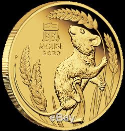2020 P Australia PROOF GOLD $25 Lunar Year of the Mouse NGC PF70 1/4 oz Coin FR