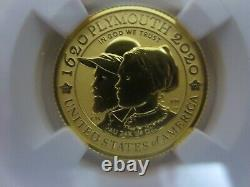 2020-W $10 Gold 1/4 OZ. NGC PF70 Reverse Proof MAYFLOWER 400th Anniversary First