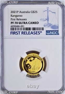 2021 Australia Kangaroo PROOF 1/4oz. 9999 GOLD $25 NGC PF70 Coin FR