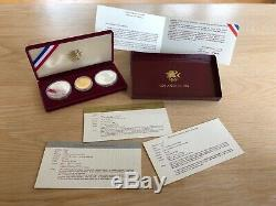 3 Coin Olympic Commemorative Proof Set. 1984 $10 Gold. 1983 & 1984 $1 Silver