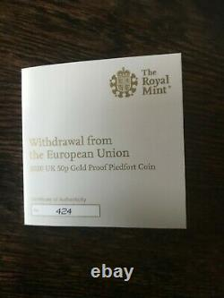 Brexit Gold Proof 50p coin DOUBLE WEIGHT GOLD new PIEDFORT limited edition