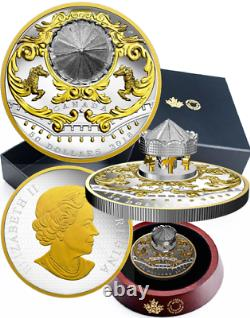 COA#3. 2018 Antique Carousel $50 6OZ Pure Silver Gold-Plated Proof Coin Canada