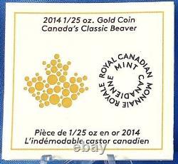 Canada 2014 Beaver Canadas Classic Coin Design 50-Cents Pure Gold