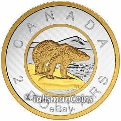Canada 2015 Big Coins Series #6 Polar Bear $2 Toonie 5 Oz Silver Gold Plated Prf