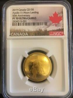 Canada 2019 GOLD'50th Anniv. Of the Apollo 11 Moon Landing' Convex-Shape Coin