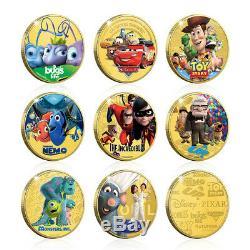 Disney Pixar Gifts Collection 24 Carat Gold Coin Medal Complete Bundle Pack