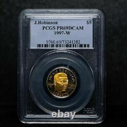 GOLD 1997-W $5 Jackie Robinson Commemorative Coin PCGS PR69 DCAM 1/4 Oz PROOF