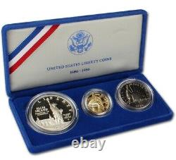 GOLD COIN United States Liberty Coins 1886 1986 3 Coin Proof Set with Case & COA