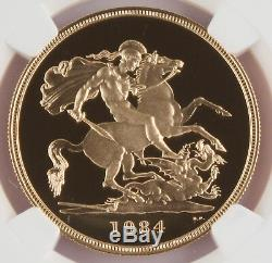 Great Britain UK 1984 5 Pound/Sovereign 1.177 Oz Gold Proof Coin NGC PF69 UC