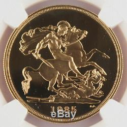 Great Britain UK 1985 5 Pound/Sovereign 1.177 Oz AGW Gold Proof Coin NGC PF69 UC