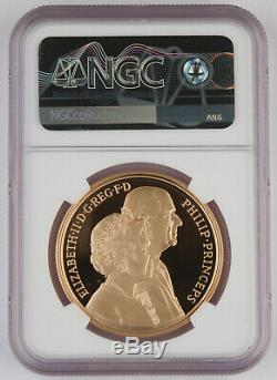Great Britain UK 1997 5 Pound Gold Proof Coin Royal Wedding Anniversary NGC PF69