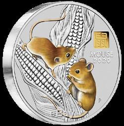 Lunar Series III 2020 Year Of The Mouse 1 Kilo Silver Coin With Gold Privy Mark