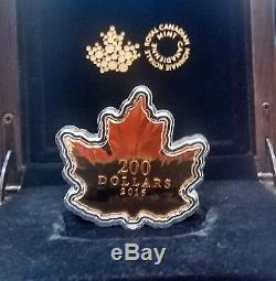 Maple Leaf Shaped Silhouette $200 2016 1OZ Pure Gold Proof Coin World's First
