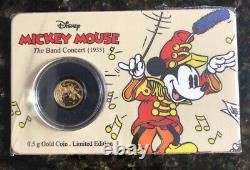 Mickey Mouse 0.5g Gold Coin (2016). Niue The Band Concert (1938)