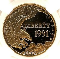 NGC PF 64 ULTRA CAMEO 1991-W US Gold $5 Mount Rushmore Commemorative Proof Coin