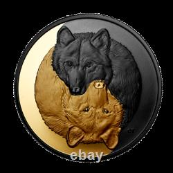 New Canada Silver Rhodium & Gold Plated $20 Coin 1 Oz GREY WOLF, 2021