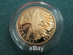 One Lot of (2)1987 U. S. $5 1/4oz ea. Gold Proof Constitution Coins Withcases & COA