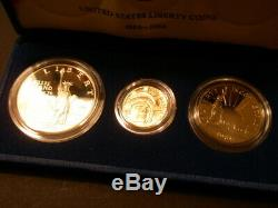 One Proof Set United States Liberty Coins 1986 3-coin with $5 gold coin