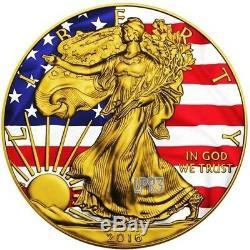 PATRIOTIC LIBERTY FLAG 2016 1 oz American Silver Eagle Coin Color 24K Gold