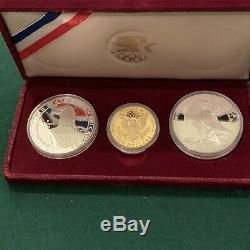 Proof 1983-1984 Olympic 3 Coin Set $10 Gold Eagle and 2 Silver Dollars