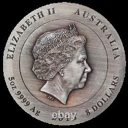 Rare Earth 2018 5oz Silver High Relief Patina Coin with golden diamond Australia
