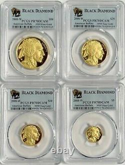 Set of 4 2008-W Gold Buffalo Black Diamond PCGS PR70DCAM Consecutive Serial #s