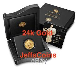 Standing Liberty Quarter 2016 Centennial Gold Coin. 9999 fine 24karat 1916 16xc