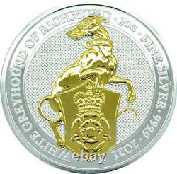 THE WHITE GREYHOUND RICHMOND QUEEN'S BEASTS 2021 2 oz Gilded Silver Bullion Coin