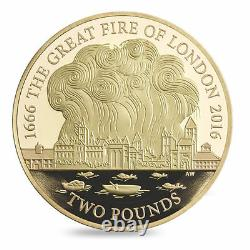 The Royal Mint The Great Fire of London 2016 UK £2 Gold Proof Coin complete