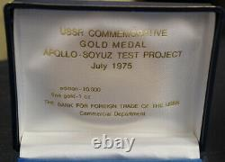 USSR Commemorative 1 Oz Fine Gold Medal Apollo-Soyuz Test Project July 1975