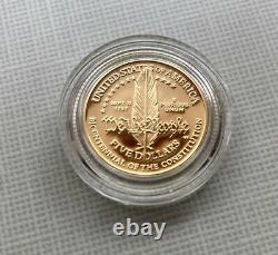 US Constitution 1987 coin set with one $5 gold coin and one $1 silver coin
