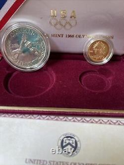 US Mint 1988 Olympic Commemorative $5.00 Gold & Silver Dollar 2-Coin Set