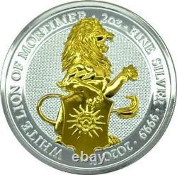 WHITE LION OF MORTIMER THE QUEEN'S BEASTS 2020 2 oz Gilded Silver Bullion Coin